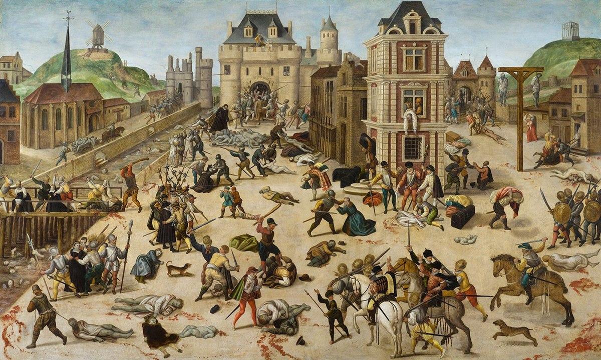 Bartholomæusnatten mellem 23. og 24.august 1572. Adskillige Huguenotter blev dræbt og tusindvis flygtede efterfølgende. Maleri Francois Dubois. Kilde: www.fysikhistorie.dk